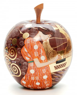 The Music by Klimt on Apple shaped Jewellery Box Hand Painted Wooden Box (by Semino Crafts)