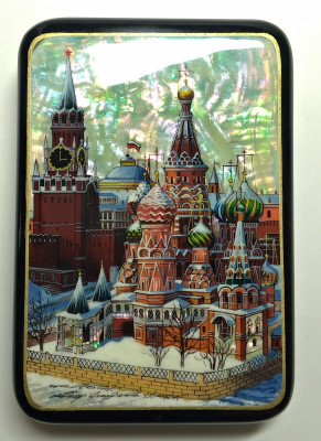 130x90 mm Moscow Snt Basil Cathedral and Red Square hand painted papier-mache lacquered Jewelry Box (by Tatiana Crafts)