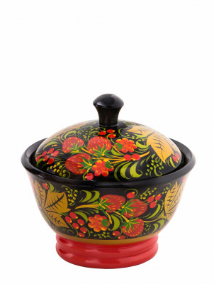 110x120 mm Khokhloma hand painted wooden Sugar Bowl (by Golden Khokhloma)