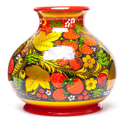 120x130 mm Khokhloma hand painted wooden Vase (by Golden Khokhloma)