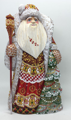 220 mm Santa Claus hand carved and painted wooden figure with Green Tree (by Natalia Workshop)