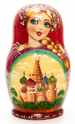 200 mm Moscow Saint Basil Cathedral hand painted on Wooden Matryoshka doll 10 pcs (by Valeria Crafts)