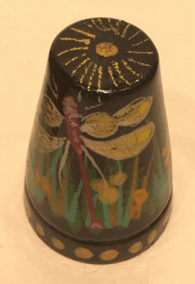 Butterfly Hand Painted Wood Finger Thimble