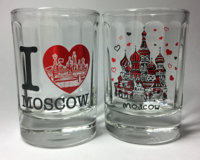 50 ml I Love Moscowl Decal Shot Glass set of 2 pcs (by AKM Gifts)