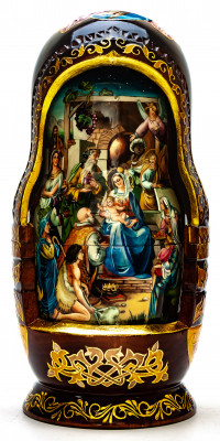 300 mm Nativity of Jesus hand painted wooden Matryoshka doll 10 pcs (by Trifonov Studio)
