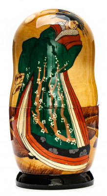 180mm Geisha hand painted on wooden Matryoshka doll 5 pcs (by Alexander Famous Paintings Studio)