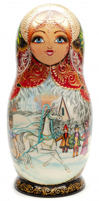 305 mm The Snow Queen hand painted on Wooden Matryoshka doll 10 pcs (by Oleg Studio)