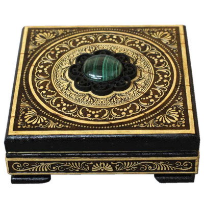 100x100 mm Siberian Patterns hand made Birchbark Jewelry Box with Malachite stone (by Birch Gifts)