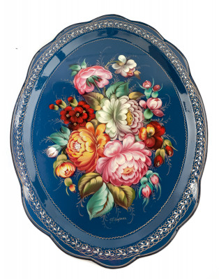 360x480 mm Zhostovo Patterns hand painted and lacquered by Golovina Metal Forged Tray (by Lada Crafts)
