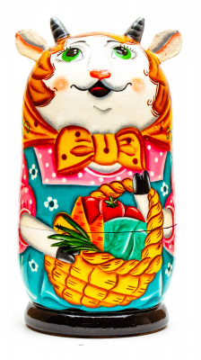120mm Goat with the Basket of Vegetables hand painted Matryoshka 3pcs (by Gift Shop)