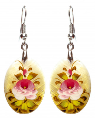 25x18 mm Flowers hand painted on Nacre Earrings (by Tatiana Shkatulka Crafts)