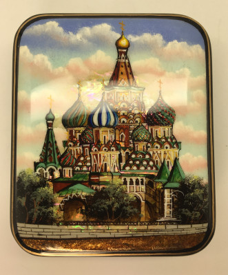 90 x 110 mm Moscow Winter hand painted lacquered box from Fedoscino (by Mihail Studio)