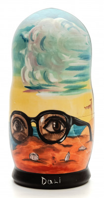 180 mm Forgotten Sunglasses by Dali hand painted on wooden Matryoshka doll 5 pcs (by Alexander Famous Paintings Studio)