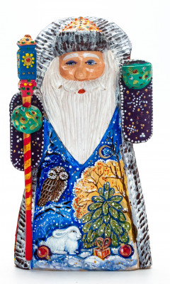 190 mm Santa with a Magic Staff handpainted Wooden Carved Statue (by Igor Carved Wooden Figures Studio)