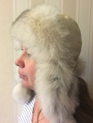 Silver Milk Polar Fox Fur Hat with Leather Top Nazarov