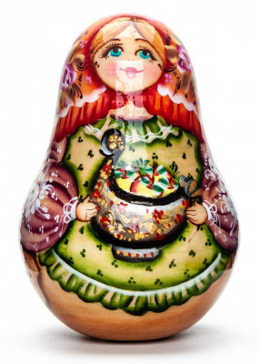 100mm Russian Doll with Apples Roly-poly Toy