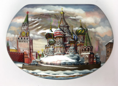170 x 120 mm Moscow Winter hand painted on pearl shell lacquered box from Fedoscino (by Mihail Studio)