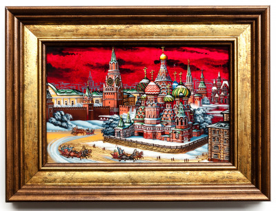 195x145 mm Red Square hand painted on Nacre Fedoscino painting (by Tatiana Fedoscino Arts)