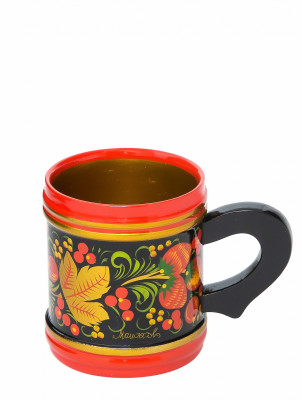 80x70 mm Khokhloma hand painted wooden Mug (by Golden Khokhloma)