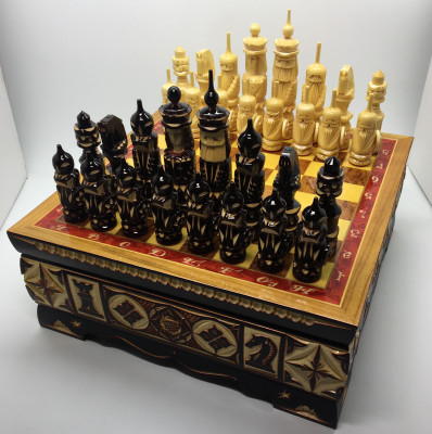 255x255 Hand Carved Chess Pieces on Inlaid Wood Board Box (by Fyodor Chess Workshop)