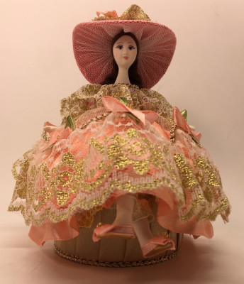 Girl in a nice Summer Hat and Dress sitting on Jewelry Box (hand-sewn Doll by Le Russe)