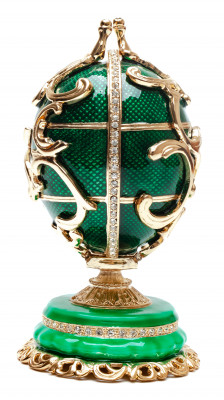 125 mm Ornamental GreenMedium Easter Egg with the Gift insude