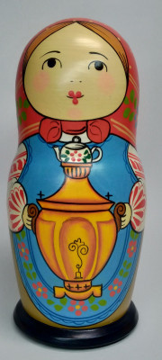 160 mm Mistress with Samovar hand painted Traditional Russian Wooden Matryoshka doll 5 pcs (by Igor Malyutin)