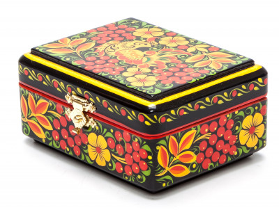 Khokhloma Painting Jewellery Wooden Box 90x70 mm