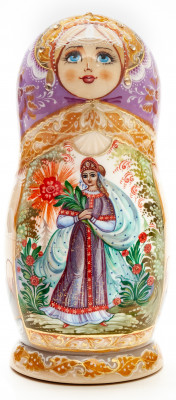 160mm The Scarlet Flower hand painted Matryoshka round Doll 5pcs (by A Studio)