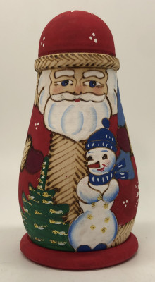 110 mm Santa Claus and Snowman Hand Carved Burnt and Painted Matryoshka Doll 3 pcs (by Igor Carved Wooden Figures Studio)