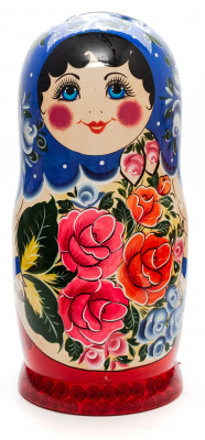 Dark Blue Scarf Russian hand painted Wooden Matryoshka with 20 dolls inside