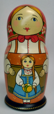 160 mm Mother with Daughter hand painted Traditional Russian Wooden Matryoshka doll 5 pcs (by Igor Malyutin)