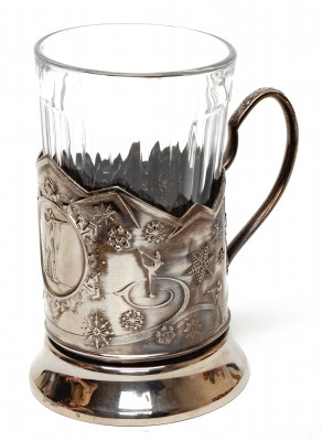 Biathlon Nickel Plated Brass Tea Glass Holder with Faceted Glass (by Kolchugino)