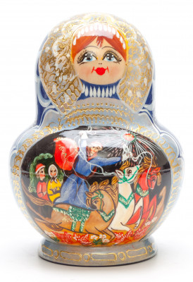 160 mm Russian Troika handpainted Wooden Matryoshka round Doll 5 pcs (by Valery Crafts)