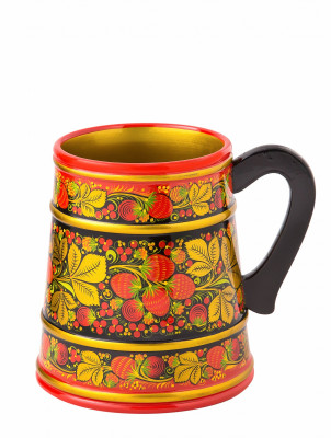 160x140 mm Khokhloma hand painted wooden Mug (by Golden Khokhloma)