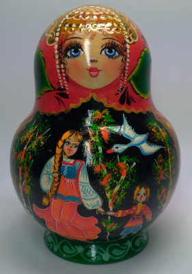 140mm The Magic Swan Geese hand painted Matryoshka round doll 10pcs