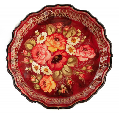 d 370 mm Zhostovo Patterns hand painted and lacquered by Hitrova Metal Forged Tray (by Lada Crafts)