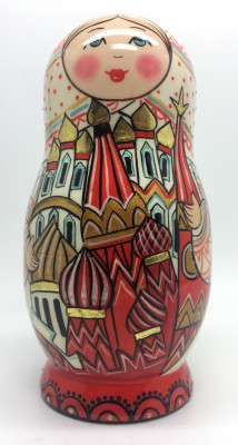 150 mm Moscow Snt Basil Cathedral and Kremlin hand painted by Lentuloff on wooden Matryoshka doll 5 pcs (by A Studio)