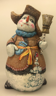 25cm Snowman in a Caftan with Gloves and Broom hand painted by Karpova Nadezda