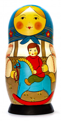 220 mm Mother with Son Riding the Wooden Toy Horse hand painted Traditional Russian Wooden Matryoshka doll 10 pcs (by Sergey Malyutin)