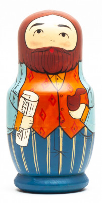 110 mm Family on the Weekend Walk hand painted Traditional Russian Wooden Matryoshka doll 5 pcs (by Sergey Malyutin)