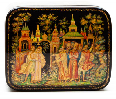 100x80mm The Sleepin Beauty hand painted lacquered box from Palekh (by Pavel Studio)