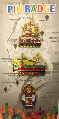Moscow Famous Buildings and Russian Matryoshka set of 3  Metal Pins (by AKM Gifts)