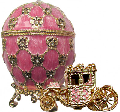 95 mm Imperial Coach and Pink Imperial Coronation Easter Egg