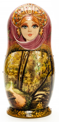 200 mm Summer Forest hand painted on Wooden Matryoshka doll 7 pcs (by Natalia Crafts)