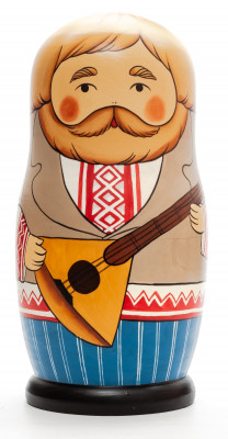230 mm Man with Balalayka hand painted Traditional Russian Wooden Matryoshka doll 7 pcs (by Igor Malyutin)