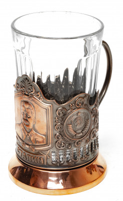 Stalin Pure Copper Tea Glass Holder with Faceted Glass (by Kolchugino)