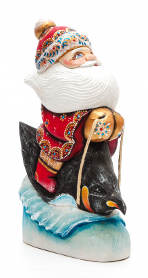 200 mm Santa riding a Penguin Carved Wood Hand Painted Collectible Figurine (by Igor Carved Wooden Figures Studio)