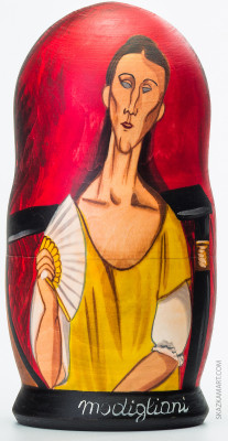 200 mm La Femme a l'Eventail by Modigliani hand painted wooden Matryoshka doll 5 pcs (by A Studio)