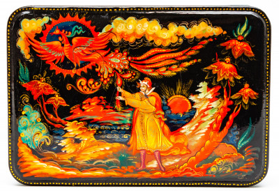 160x110mm The Firebird hand painted lacquered box from Palekh (by Pavel Studio)